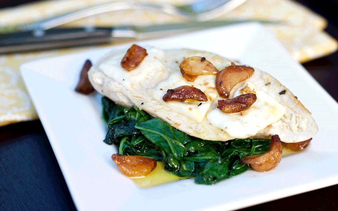 Melted-Real-Feta-over-Pan-Seared-Chicken-with-Sauteed-Spinach